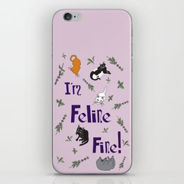 Kitty Cats and Catnip Illustrated Typography Print in Lavender Purple iPhone Skin