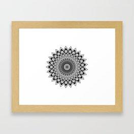 Sacred Lotus Black and White Mandala - LaurensColour Framed Art Print