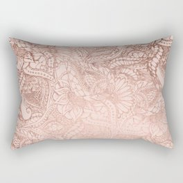 Modern rose gold floral illustration on blush pink Rectangular Pillow