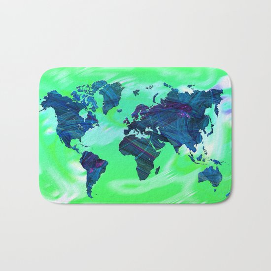 World Map in Blue and Green Bath Mat