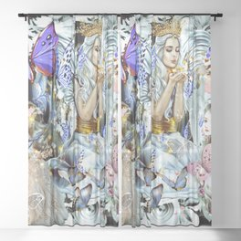 A World Of Butterflies Is Happiness Sheer Curtain