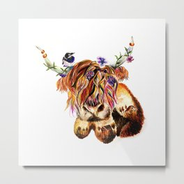 sunset highland cow Metal Print