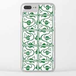 Vintage Leaf and Vines Green Clear iPhone Case
