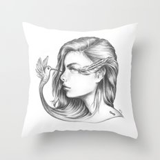 Look Life in the Face (B/W) Throw Pillow