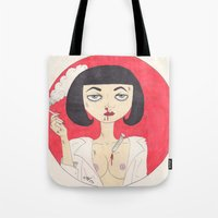 mia wallace Tote Bags featuring Mia Wallace (Pulp Fiction)  by LoveCats