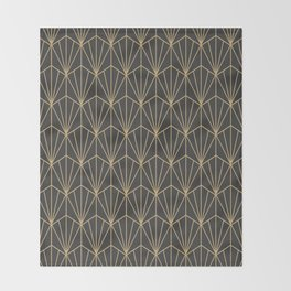 Art Deco Vector in Charcoal and Gold Throw Blanket