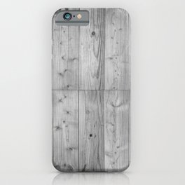 Wood Planks in black and white iPhone Case