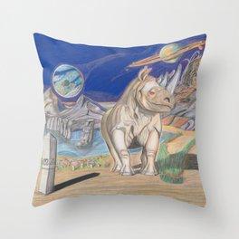Rhino, Shroomy aka Major Tripps Throw Pillow