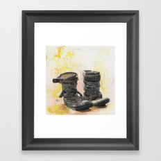 Boots in the Hall - Boots drying by the Fire in Winter Framed Art Print