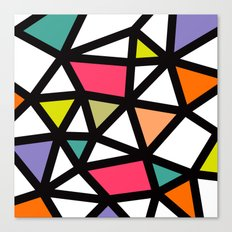 White lines & colors pattern #2 Canvas Print