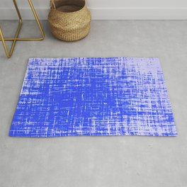 Woven Cerulean Blue and White Abstraction Rug