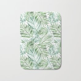 Watercolor palm leaves pattern Bath Mat