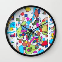 cities Wall Clocks featuring Sister Cities by theartistmakena