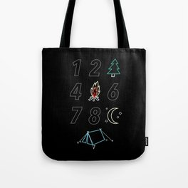 1 2 tree 4 fire 6 7 8 night tent Tote Bag