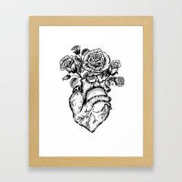 Roses and heart Framed Art Print