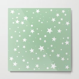 Mint Green White Stars Pattern cute light color Metal Print