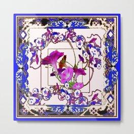 Decorative  Purple Vining Flowers White Patterns  Art Metal Print