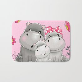 adorable hippos Bath Mat