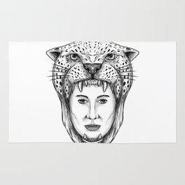 Amazon Warrior Jaguar Headdress Tattoo Rug