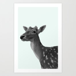 Deer on Mint Art Print