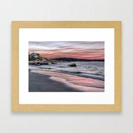 Pink Sunset on the beach Framed Art Print
