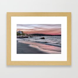 Pink Sunset on the beach Framed Art Print