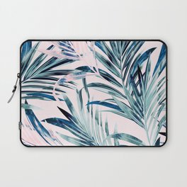 Fashion vector illustration with tropical palm leaves in pink and blue color, watercolor style Laptop Sleeve