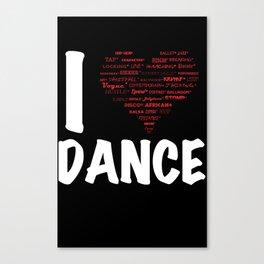 I Heart Dance(white) Canvas Print