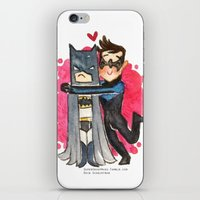 nightwing iPhone & iPod Skins featuring Nightwing Hugs Bat man by Super Group Hugs