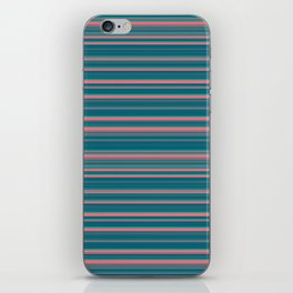 Deep Sea Blue & Pink Candy Lines iPhone Skin