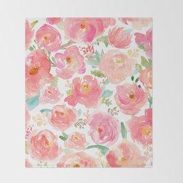 Pink Peonies Watercolor Pattern Throw Blanket