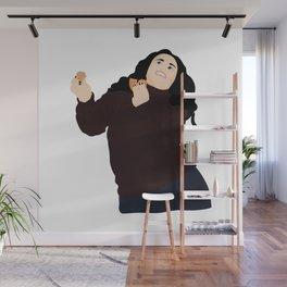 Monica Geller eating and dancing Wall Mural