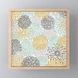 Floral Abstract Print, Yellow, Gray, Aqua Framed Mini Art Print