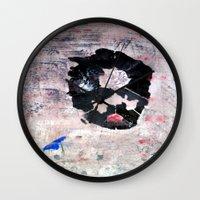 banksy Wall Clocks featuring C'EST CI N'EST PAS BANKSY  by Lazara Rosell Albear