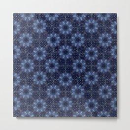 Floral Persian Pattern on Deep Indigo Ink Metal Print