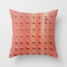 Riveted metal wall surface Throw Pillow