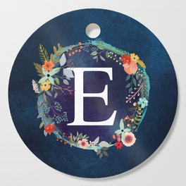 Personalized Monogram Initial Letter E Floral Wreath Artwork Cutting Board