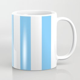 Maya blue - solid color - white vertical lines pattern Coffee Mug