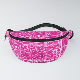 Watercolor Chinoiserie Block Floral Print in Magenta Pink Porcelain Tiles Fanny Pack