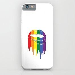 Retro Lipbite Illustration Lesbian Bisexual Cute LGBTQA+ Rainbows Graphic Men Women T Shirt iPhone Case