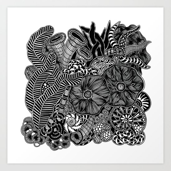 Under the sea 2 black and white doodle art art print by martywoodskk society6