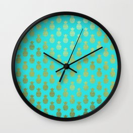Gold Abstract Pineapples Pattern on Teal Wall Clock