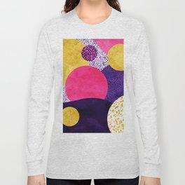 Terrazzo galaxy purple night yellow gold pink Long Sleeve T-shirt