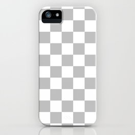 Checkered - White and Silver Gray iPhone Case