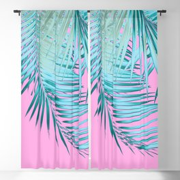 Palm Leaves Pink Blue Vibes #1 #tropical #decor #art #society6 Blackout Curtain