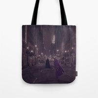 gotham Tote Bags featuring Gotham Nights by Ed Burczyk