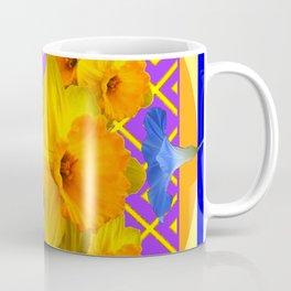 Golden Daffodils Blue Morning Glories Garden Pattern Coffee Mug