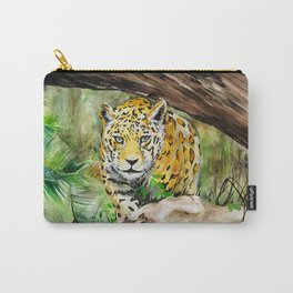 Prowling Jaguar in the Jungle Watercolor Painting Carry-All Pouch