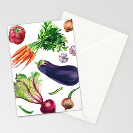 vegetables watercolor Stationery Cards