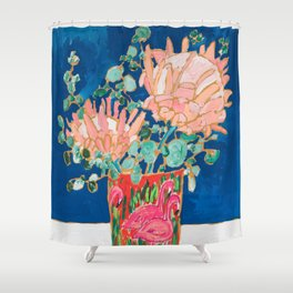 Protea in Enamel Flamingo Tumbler Painting Shower Curtain